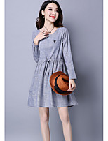 Women's Going out Casual/Daily Loose Dress,Solid Round Neck Mini Long Sleeve Polyester Summer Mid Rise Micro-elastic Medium