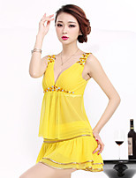 Women's Casual/Daily Simple T-shirt Dress Suits,Solid Deep V Sleeveless Tassel Micro-elastic