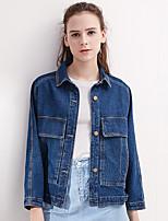 Women's Daily Modern/Comtemporary Summer Denim Jacket,Solid Shirt Collar Long Sleeve Regular Polyester