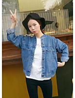Women's Going out Casual/Daily Vintage Simple Fall Winter Denim Jacket,Solid Round Neck Long Sleeve Regular Others