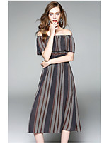 OYCP Women's Daily Sheath DressStriped Boat Neck Midi Short Sleeve Polyester Summer High Rise Micro-elastic Thin