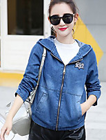 Women's Going out Active Spring Denim Jacket,Solid Hooded Long Sleeve Short Cotton