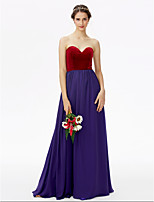 A-Line Sweetheart Floor Length Chiffon Velvet Bridesmaid Dress with Pleats by LAN TING BRIDE®