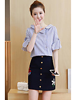 Women's Casual/Daily Simple Summer Shirt Skirt Suits,Striped Shirt Collar Short Sleeve Micro-elastic