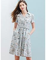 Balançoire Robe Femme DécontractéImprimé Col de Chemise Mi-long Manches Courtes 100% coton Eté Taille Normale Micro-élastique Fin