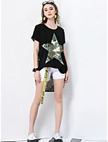 Damen Druck Einfach Alltag Normal Ausgehen Lässig/Alltäglich T-shirt,V-Ausschnitt Frühling Sommer Kurzarm Polyester Dünn