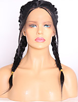 Double Braid Natural Black Color Hair Wig High Temperature Synthetic Lace Front Wigs For Women