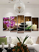 Art Print Floral/Botanical Modern,Five Panels Horizontal Print Wall Decor For Home Decoration