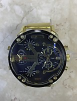 JUBAOLI Hombre Reloj Deportivo Reloj Militar Chino Cuarzo Calendario Dos Husos Horarios Esfera Grande Acero Inoxidable Banda CoolBlanco