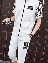 Men's Casual Sweatshirt Print Stand Micro-elastic Cotton Short Sleeve Winter