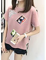 Women's Holiday Cute T-shirt,Print Round Neck Short Sleeve Cotton