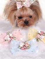 Собаки Аксессуары для шерсти Одежда для собак Милые На каждый день Бант Желтый Синий Розовый