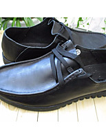 Для мужчин Туфли на шнуровке Удобная обувь Мода Кожа Тюль Все сезоны Для вечеринок Удобная обувь Мода Черный На плоской подошве