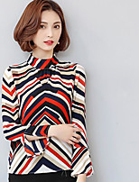 Women's Going out Vintage Blouse,Color Block Crew Neck Long Sleeve Others