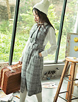 Women's Going out Casual/Daily Work Vintage Simple Winter Tank Top Dress Suits,Solid Plaid Round Neck Sleeveless