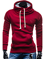 Men's Sports Casual/Daily Simple Hoodie Solid Hooded Micro-elastic Cotton Long Sleeve Spring Fall