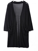 Women's Going out Long Cardigan,Solid Asymmetrical ¾ Sleeve Cotton Summer Thin Micro-elastic