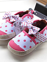 Girls' Athletic Shoes Comfort Fabric Spring Fall Casual Comfort Flat Heel White Flat