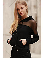 Women's Casual/Daily Hoodie Solid Pure Color Round Neck Micro-elastic Cotton Long Sleeve Spring Fall