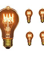 5pcs a19 e27 40w incandescent vintage ampoule pour ménage bar café boutique hotel ac110-130v
