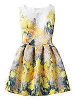 Girl's Cotton Fashion And Lovely  Small Yellow Flowers  A-line Collect Waist Vest Printing Princess Dress