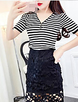 Women's Casual/Daily Simple T-shirt Skirt Suits,Striped V Neck Short Sleeve Micro-elastic