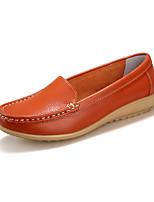 Для женщин Мокасины и Свитер Удобная обувь Кожа Лето Осень Повседневные На каждый день Удобная обувь На низком каблукеБелый Черный