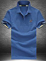 Men's Office/Career Simple Polo,Solid Shirt Collar Short Sleeve Cotton Polyester