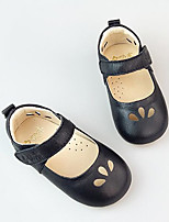 Girls' Flats First Walkers Cowhide Spring Fall Casual Walking First Walkers Magic Tape Low Heel Ruby Beige Black Flat