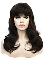 New Long Wavy Brown Synthetic Wig with Bang for Women