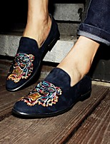 Men's Loafers & Slip-Ons Comfort Tulle PU Spring Casual Comfort Dark Blue Flat