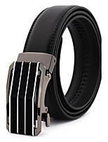 Men's Simple Striped Black/Blue/Brown Genuine Leather Alloy Automatic Buckle Waist Belt Work/Casual/Party All Seasons