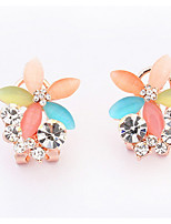 Euramerican  Adorable Luxury Rhinestone And Multicolor Opal Flowers Lady Clip Earrings Jewelry Gifts
