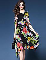 Ample Robe Femme Sortie Grandes Tailles Chic de Rue,Fleur Col Arrondi Asymétrique Manches ¾ Polyester Eté Taille Normale Micro-élastique