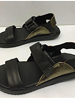 Men's Sandals Comfort Cowhide Spring Casual Black Flat