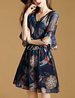 Damen A-Linie Kleid-Ausgehen Street Schick Druck V-Ausschnitt Mini Halbe Ärmel Kunstseide Polyester Sommer Mittlere Hüfthöhe
