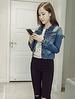 Women's Daily Modern/Comtemporary Spring Denim Jacket,Solid Print Stand Long Sleeve Short Others