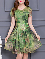 Women's Plus Size Going out Sophisticated A Line Chiffon Dress,Print Round Neck Knee-length Short Sleeve Polyester Summer Mid Rise