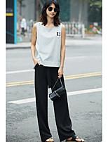 Damen Gestreift Einfach Alltag Normal T-shirt,Rundhalsausschnitt Ärmellos Baumwolle Polyester