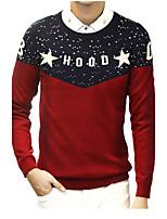 Herren Standard Pullover-Normal Einfach Einfarbig Rundhalsausschnitt Langarm Polyester/Baumwollmischung Wolle und Polyester Mischung