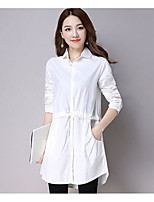 Women's Casual/Daily Simple Shirt,Print Shirt Collar Long Sleeve Cotton Thin