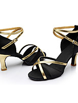 Women's Latin Satin Leatherette Sandals Indoor Heel Black Customizable