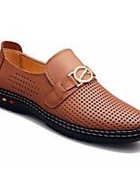 Для мужчин Кеды Удобная обувь Наппа Leather Кожа Весна Повседневный Черный Желтый Темно-коричневый На плоской подошве