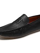 Men's Loafers & Slip-Ons Comfort PU Spring Summer Outdoor Casual Flat Heel Khaki Brown Black Flat