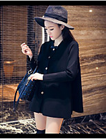 Women's Going out Simple Winter Trench Coat,Solid V Neck Long Sleeve Long Others