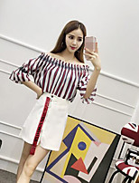 Women's Casual/Daily Simple T-shirt Skirt Suits,Striped Off Shoulder ½ Length Sleeve Micro-elastic