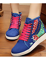 Women's Sneakers Comfort Canvas Spring Casual Comfort Blue Red Navy Blue Flat