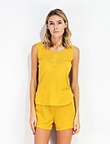 Women's Other Pants Summer Tank Top Pant Suits,Solid Round Neck Sleeveless Inelastic
