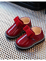 Girls' Flats First Walkers Leatherette Spring Fall Daily Walking Magic Tape Low Heel Ruby Black Flat