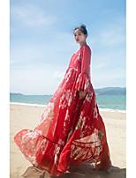 Balançoire Robe Femme Décontracté / Quotidien Chinoiserie,Couleur Pleine Géométrique Col en V Maxi Manches Longues Polyester EtéTaille